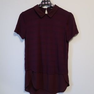 RW&CO Maroon Collared Blouse With Chiffon Hem XS